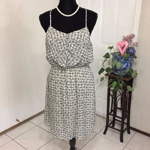 Cute Cream and Black Sheer Summer Dress (size L)